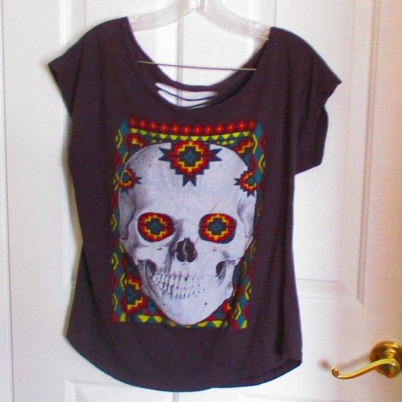 Aztec Skull Tee MED/LG Altered Distressed